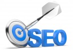 3D word SEO with Target and Dart isolated on na white background